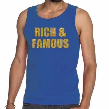 Rich and famous fun tanktop / mouwloos shirt blauw voor heren