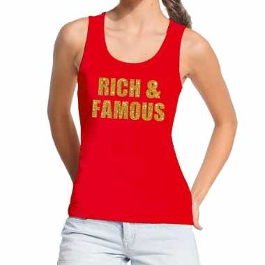 Rich and famous fun tanktop / mouwloos shirt rood voor dames
