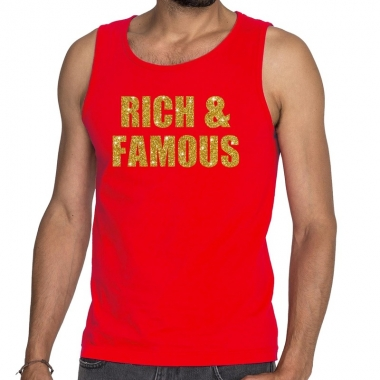 Rich and famous fun tanktop / mouwloos shirt rood voor heren