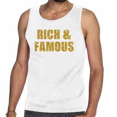 Rich and famous fun tanktop / mouwloos shirt wit voor heren