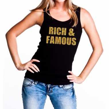 Rich and famous fun tanktop / mouwloos shirt zwart voor dames