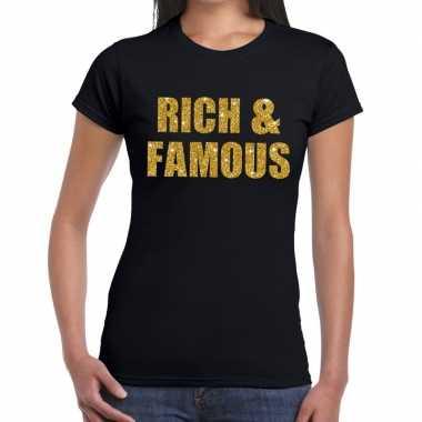 Rich and famous goud fun t-shirt zwart voor dames