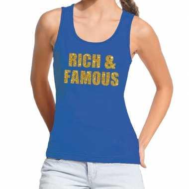 Rich and famous gouden tekst fun tanktop blauw voor dames