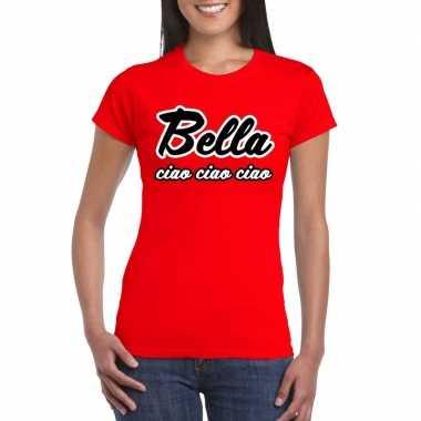 Rode bankovervaller bella ciao t-shirt voor dames