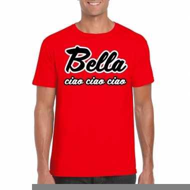 Rode bankovervaller bella ciao t-shirt voor heren