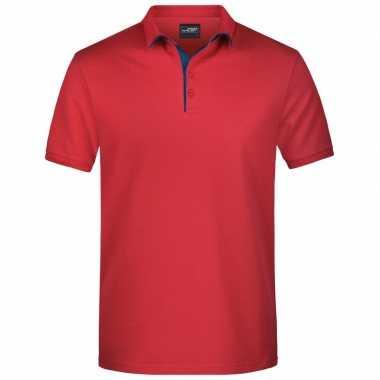 Rode premium poloshirt golf pro voor heren
