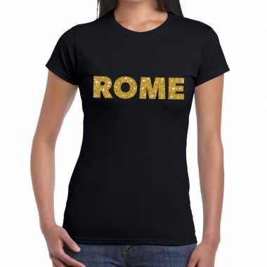 Rome gouden letters fun t-shirt zwart voor dames