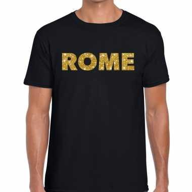 Rome gouden letters fun t-shirt zwart voor heren