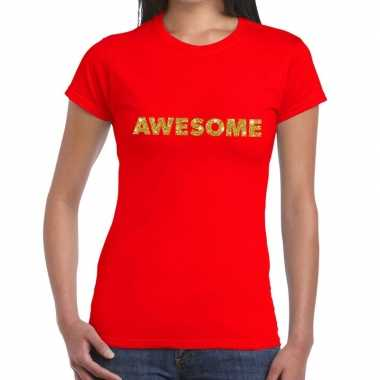 Rood awesome goud fun t-shirt voor dames