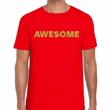 Rood awesome goud fun t-shirt voor heren