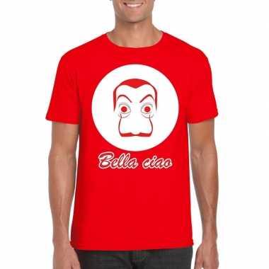 Rood bankovervaller t-shirt voor heren