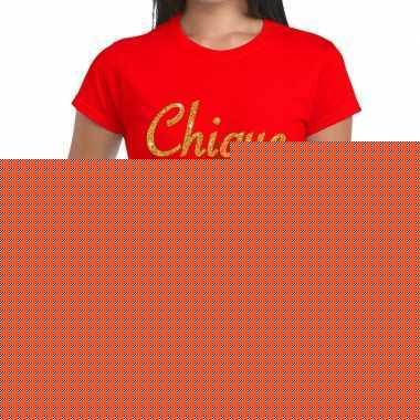 Rood chique goud fun t-shirt voor dames