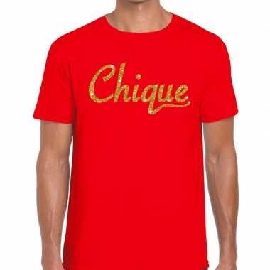 Rood chique goud fun t-shirt voor heren