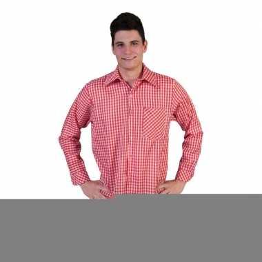 Rood geruit heren overhemd