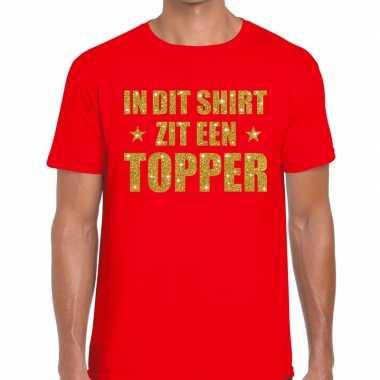 Rood in dit shirt zit een topper fun t-shirt voor heren