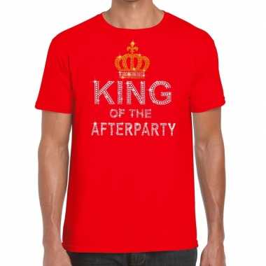 Rood king of the afterparty glitter steentjes t-shirt heren