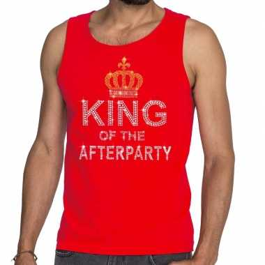 Rood king of the afterparty glitter steentjes tanktop heren