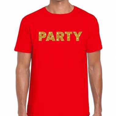 Rood party goud fun t-shirt voor heren