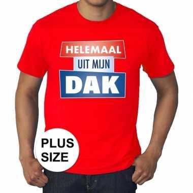 Rood plussize t-shirt voor heren met tekst helemaal uit mijn dak