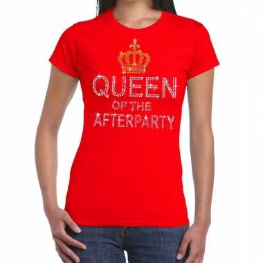 Rood queen of the afterparty glitter steentjes t-shirt dames