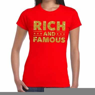 Rood rich and famous goud fun t-shirt voor dames