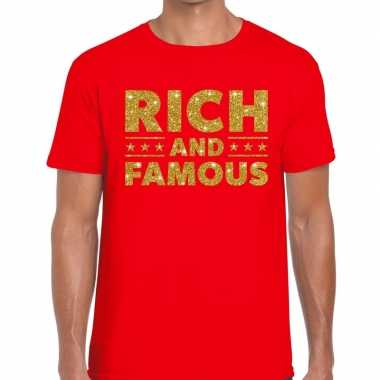 Rood rich and famous goud fun t-shirt voor heren