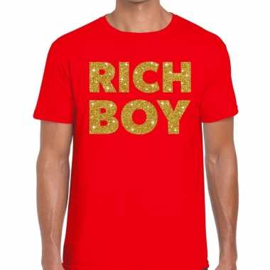 Rood rich boy goud fun t-shirt voor heren