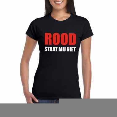 Rood staat mij niet fun t-shirt voor dames zwart