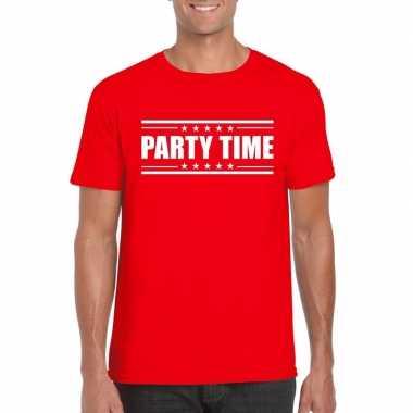 Rood t-shirt heren met tekst party time