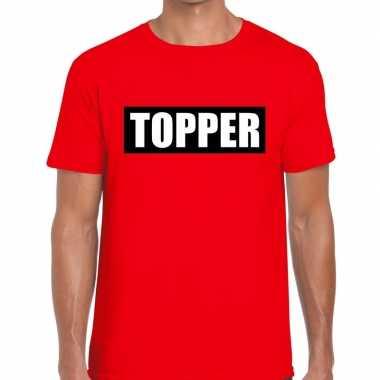Rood t-shirt heren met tekst topper in zwarte balk