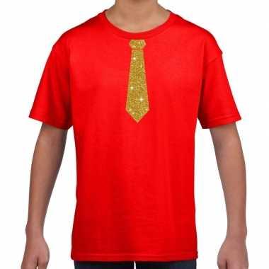 Rood t-shirt met gouden stropdas voor kinderen