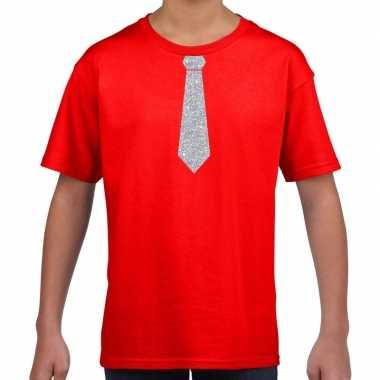 Rood t-shirt met zilveren stropdas voor kinderen