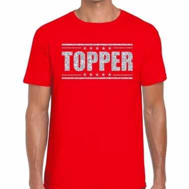 Rood topper shirt in zilveren glitter letters heren