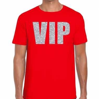 Rood vip zilver fun t-shirt voor heren