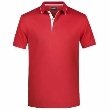 Rood/wit premium poloshirt golf pro voor heren