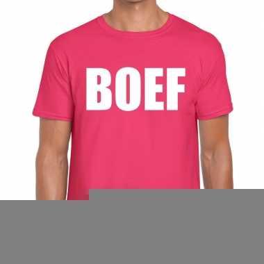 Roze boef fun t-shirt voor heren
