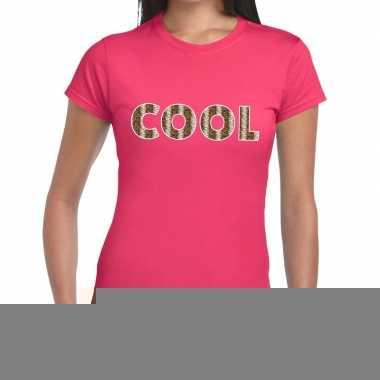 Roze cool slangenprint fun t-shirt voor dames
