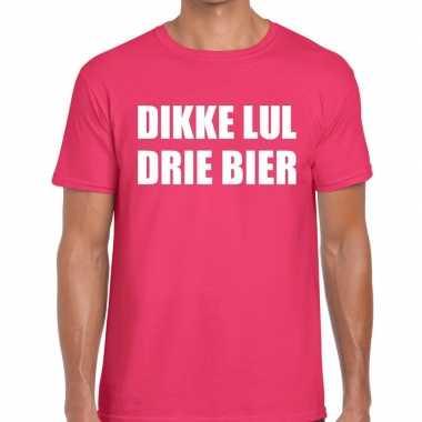 Roze dikke lul drie bier fun t-shirt voor heren