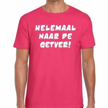 Roze helemaal naar de getver fun t-shirt voor heren