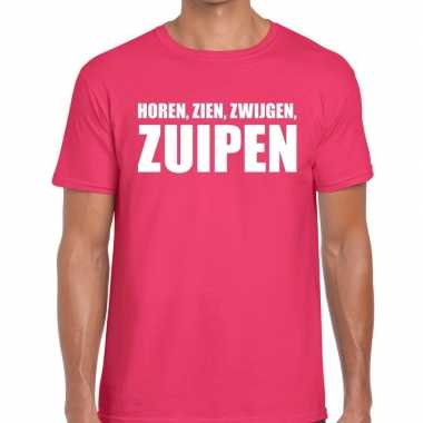 Roze horen zien zwijgen zuipen fun t-shirt voor heren