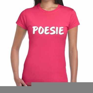 Roze poesie shirt voor dames