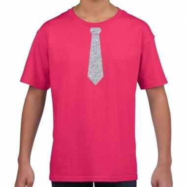 Roze t-shirt met zilveren stropdas voor kinderen