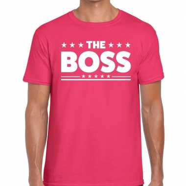Roze the boss fun t-shirt voor heren