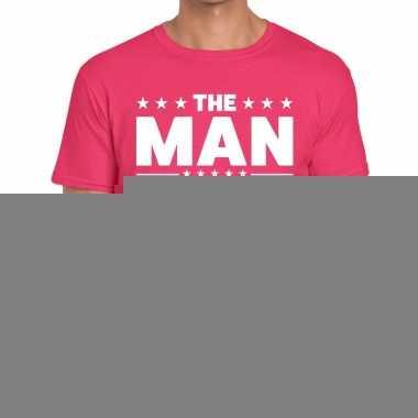 Roze the man fun t-shirt voor heren