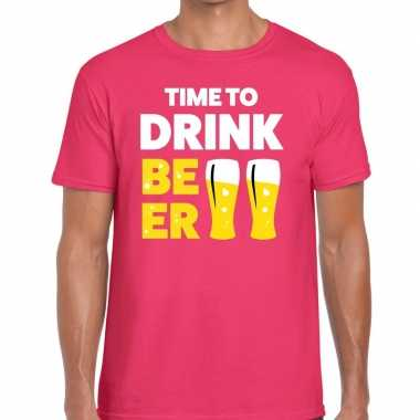 Roze time to drink beer fun t-shirt voor heren