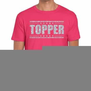 Roze topper shirt in zilveren glitter letters heren