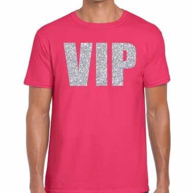 Roze vip zilver fun t-shirt voor heren