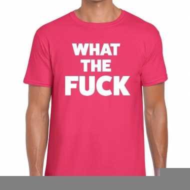Roze what the fuck fun t-shirt voor heren