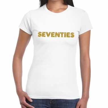 Seventies goud fun t-shirt wit voor dames