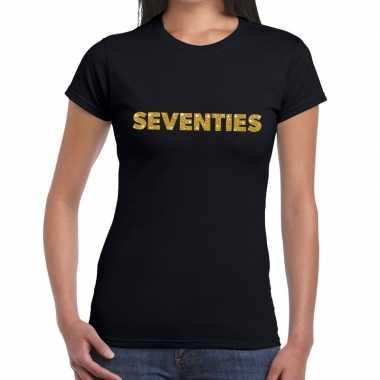 Seventies goud fun t-shirt zwart voor dames